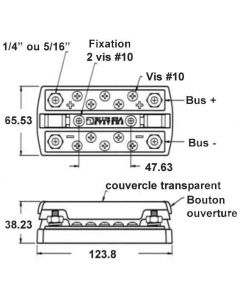 Bornier Dual Bus Plus 2x5 circuits - 150A