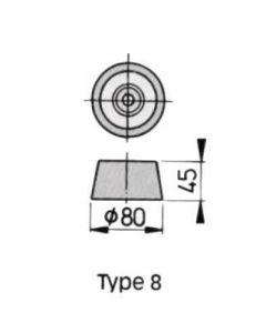 Anode alu type 8 Vetus 400g