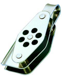 Poulies inox double anneau à ringot et coinceur Ø 4 à 6 mm